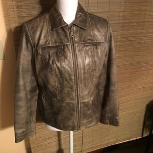 Alfani 100% Leather Petite ZIP Front Jacket.